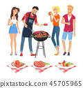 People on BBQ Party Icons Vector Illustration 45705965