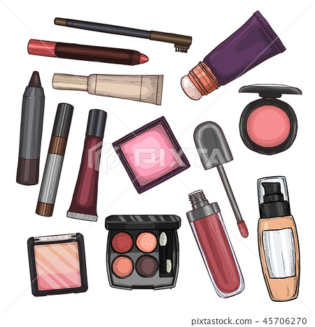Color illustration of makeup products 45706270