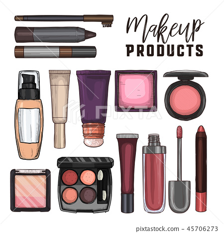 Color illustration of makeup products 45706273