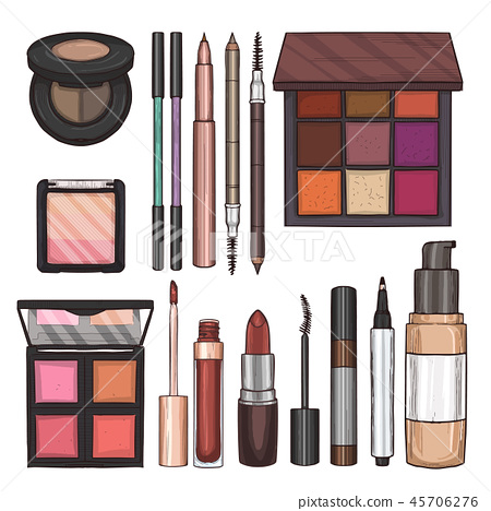 Color illustration of makeup products 45706276