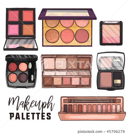 Color illustration of makeup products 45706279
