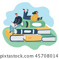 Man and woman sitting on stack books and reading. 45708014