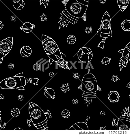 Animals in space seamless vector background 45708216