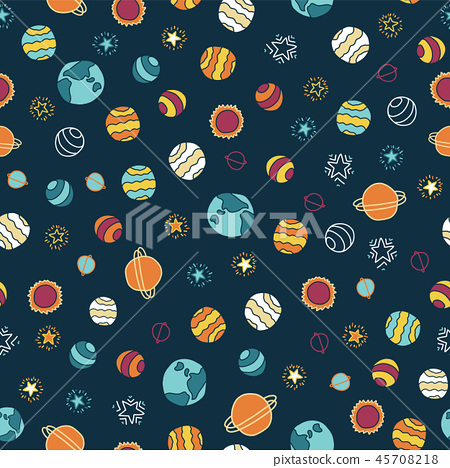 Planets and stars seamless vector background 45708218