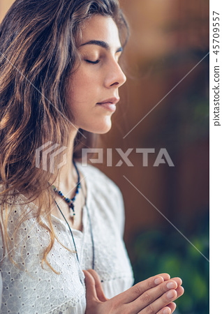 Woman Meditate at Home. Namaste Gesture 45709557