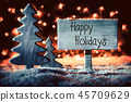 Sign, Tree, Snowflakes, Calligraphy Happy Holidays 45709629