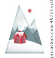 Winter paper art landscape. Mountains and small red house on the 45711550
