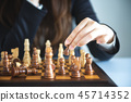 Businesswoman moving chess  45714352