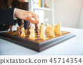 Businesswoman moving chess  45714354