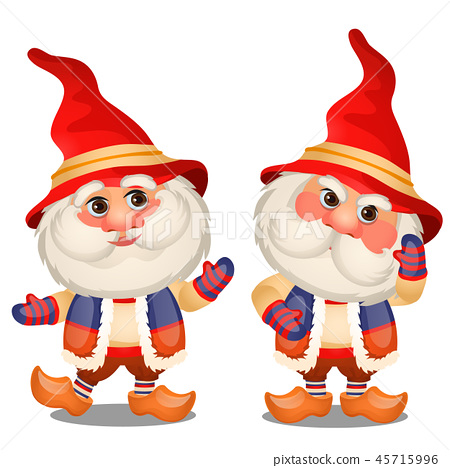 Set of funny gnome isolated on a white background. Sketch of Christmas festive poster, party 45715996