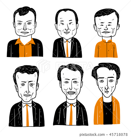 Collection of diverse hand drawn faces. 45718078