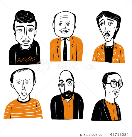 Collection of diverse hand drawn faces. 45718084