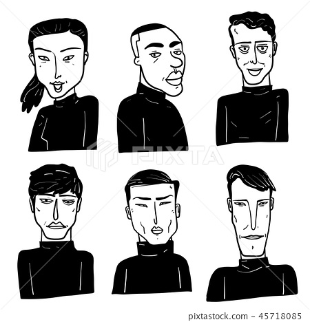 Collection of diverse hand drawn faces. 45718085