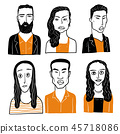 Collection of diverse hand drawn faces. 45718086