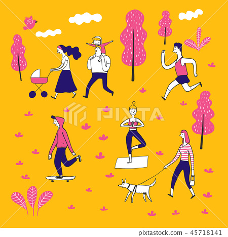 Collection of hand drawn couple in the park. 45718141