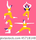 Collection of hand drawn yoga poses for women. 45718148