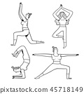 Collection of hand drawn yoga poses for women. 45718149