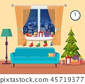 room, christmas, vector 45719377