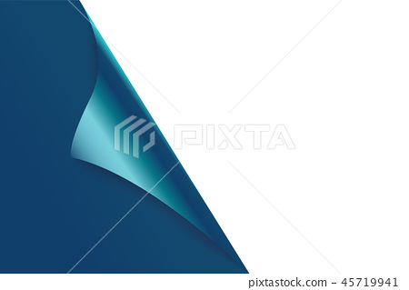 Sheet of curled blue paper background. 45719941
