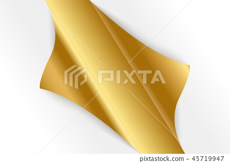 Sheet of curled gold paper background. 45719947