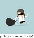 Businesswoman in mask flees with stolen bag. 45719969