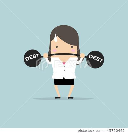 Businesswoman lifting heavy weight debt. 45720462