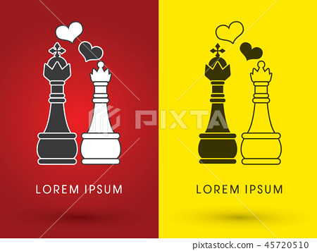 King and Queen love, Chess graphic vector . 45720510
