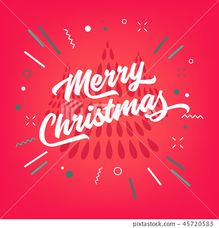 Merry Christmas calligraphy on red background. 45720583