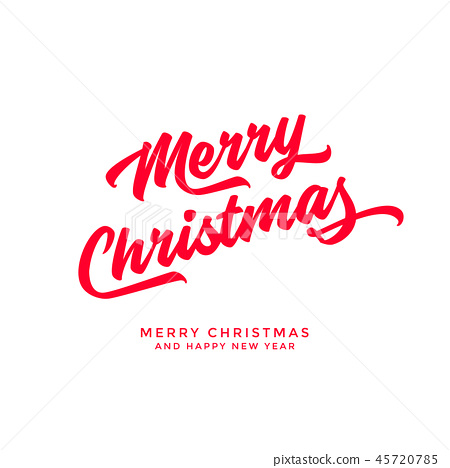 Merry Christmas text Calligraphic Lettering design 45720785