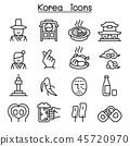 korea icon set in thin line style 45720970