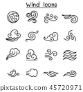 Wind icon set in thin line style 45720971