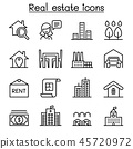 Real estate icon set in thin line style 45720972