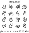 Ring icon set in thin line style 45720974