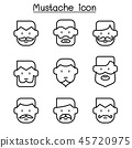 Mustache icons set in thin line style 45720975