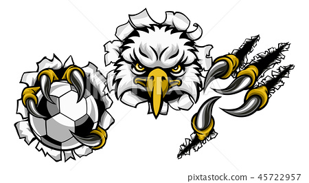 Eagle Soccer Cartoon Mascot Ripping Background 45722957