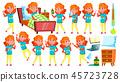 Sick Girl Schoolgirl Vector. Ill Child. For Advertising, Placard, Print Design. Isolated Cartoon 45723728
