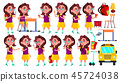 Girl Schoolgirl Kid Poses Set Vector. High School Child. Teenage. Beauty, Lifestyle, Friendly. For 45724038