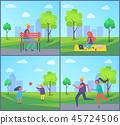 Freelancer Working in Park Vector Illustration 45724506