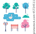 Trees and Bench Icons Set Vector Illustration 45724511