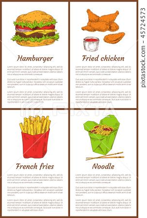 Hamburger and French Fries Set Vector Illustration 45724573