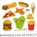 Fast Food Appetizer Collection Isolated on White 45724577
