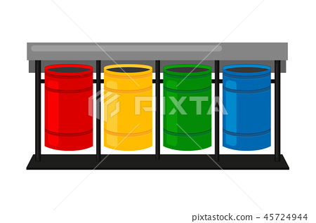 Colorful Cartoon Sorting Trash Bins Stock Illustration 45724944 Pixta