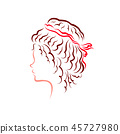 Girl with a magnificent hairstyle, curly dark hair 45727980
