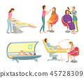 Spa Salon Hair Wash and Hairstyling Set Vector 45728309