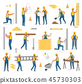 Construction and Working Plan Workers Set Vector 45730303