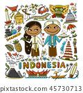 인도네시아, 상징, 벡터 45730713
