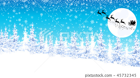 Winter landscape, Santa on a sleigh with reindeer 45732345