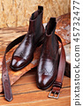 Brown leather chelsea boots polished,leather belt  45732477