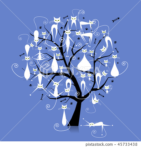 White cats on tree branches, silhouette for your design 45733438