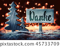 Sign, Tree, Danke Mean Means Thank You, Snow 45733709